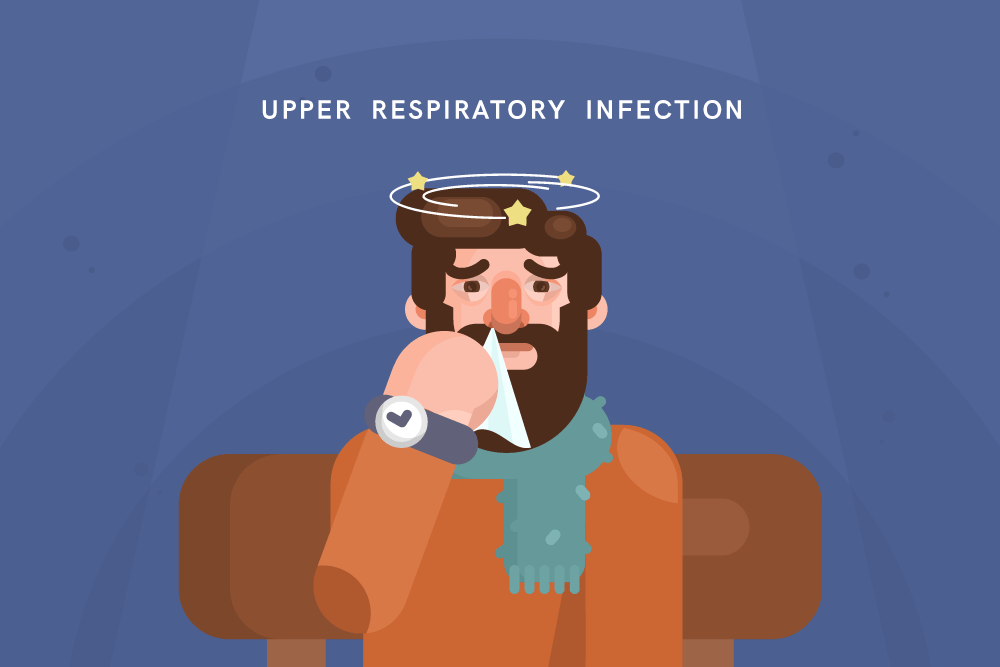 illustration of man with upper respiratory infection